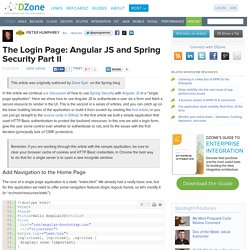 The Login Page: Angular JS and Spring Security Part II