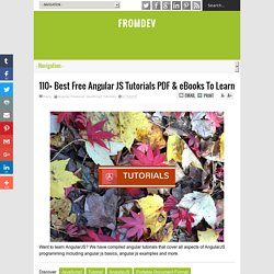 110+ Best Free Angular JS Tutorials PDF & eBooks To Learn