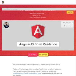 AngularJS Form Validation