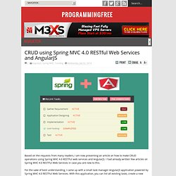 CRUD using Spring MVC 4.0 RESTful Web Services and AngularJS