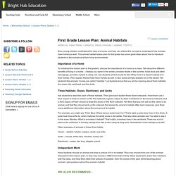 Animal Habitat Lesson Plans for First Grade