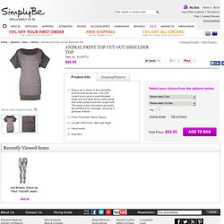 Animal Print Top Cut Out Shoulder Top at Simply Be