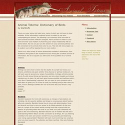 Animal Spirit Totems Dictionary of Birds - Bird Totems A-Z