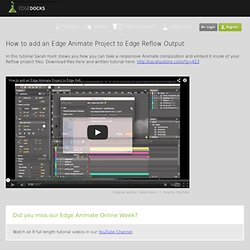 How to add an Edge Animate Project to Edge Reflow Output