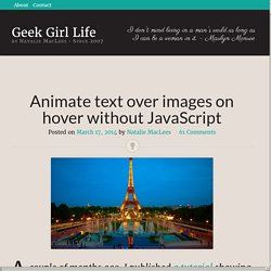 Animate text over images on hover without JavaScript