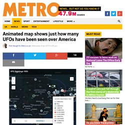 Animated map shows just how many UFOs have been seen over America