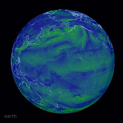 an animated map of global wind, weather, and ocean conditions