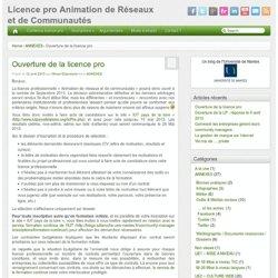 Licence pro Animation de Réseaux et de Communautés – Ouverture de la licence pro