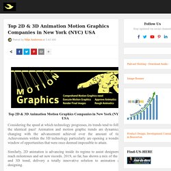 Top 2D & 3D Animation Motion Graphics Companies in New York (NYC) USA