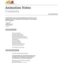 Animation Notes Contents