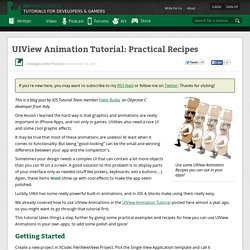 UIView Animation Tutorial: Practical Recipes - Ray Wenderlich