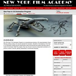 New York Film Academy - Film School - One -Year 3D Animation Workshops & Programs