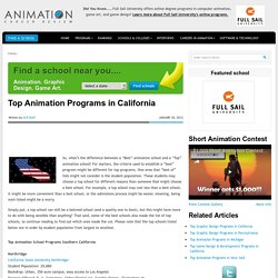 Top Animation Programs in California