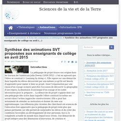 Synthèse des animations SVT proposées aux enseignants de collège en avril 2015