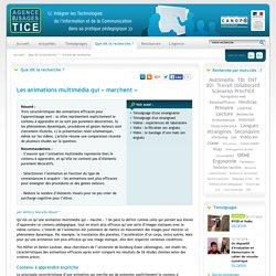 L'Agence nationale des Usages des TICE - Les animations multimédia qui « marchent »