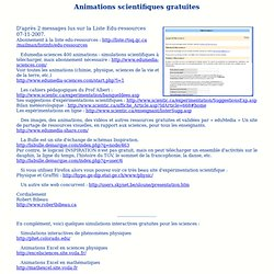 Site : Animations scientifiques gratuites