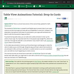 Table View Animations Tutorial: Drop-In Cards