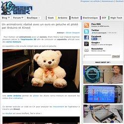 Un animatronic réalisé avec un ours en peluche et piloté par Arduino et Kinect