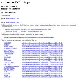 Anime on TV -- Canadian and US TV Stations