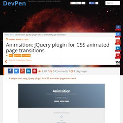 Animsition: jQuery plugin for CSS animated page transitions - DevPen