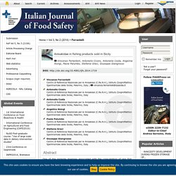 ITALIAN JOURNAL OF FOOD SAFETY – MARS 2014 - Anisakidae in fishing products sold in Sicily.