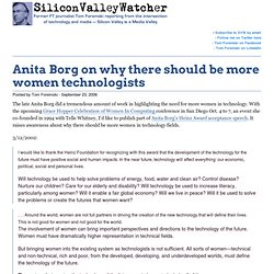 Anita Borg on why there should be more women technologists