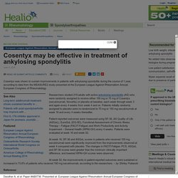 Cosentyx may be effective in treatment of ankylosing spondylitis