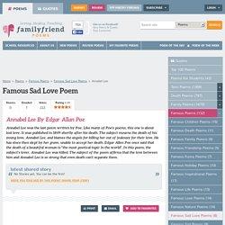 Annabel Lee By Edgar Allan Poe, Famous Sad Love Poem