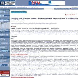 Annales de Biologie Clinique. Volume 56, Numéro 5, Septembre - Octobre 1998 Confirmation d'une toxi-infection collective d'origi