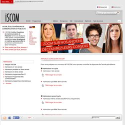 Annales concours ISCOM