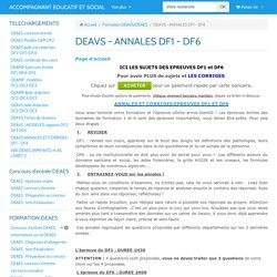 ANNALES épreuves écrites du DEAVS DF1 et DF6