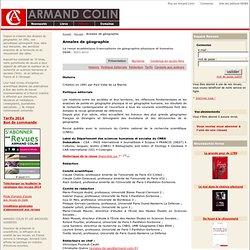 Revue Annales de géographie - Maison d'édition Armand Colin.