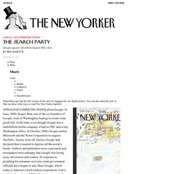 """The Search Party"" par Ken Auletta sur The New Yorker"