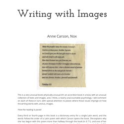 Anne Carson, Nox – Writing with Images