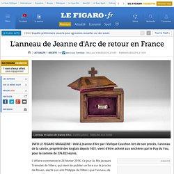 L'anneau de Jeanne d'Arc de retour en France