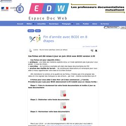 Que faire en fin d'année avec BCDI en 8 étapes ? - [Espace Doc Web]