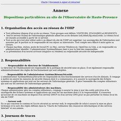 Annexe de la Charte Informatique