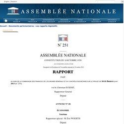 N°251 annexe 20 - Rapport de M. Éric Woerth sur le projet de loi de finances pour 2013 (n°235)