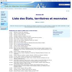 Office des publications : Liste des États, territoires et monnaies (forme officielle des pays et habitants)
