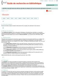 Glossaire de la BNF : termes bibliothéconomiques