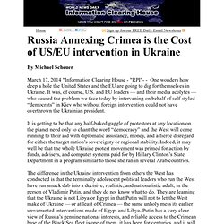 Russia Annexing Crimea is the Cost of US/EU intervention in Ukraine