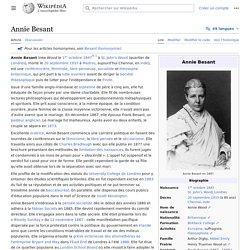 Annie Besant : 1891Directrice, 1907 Présidente