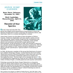 Annie Jump Cannon: Theorist of Star Spectra