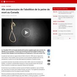 40e anniversaire de l'abolition de la peine de mort au Canada