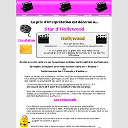 anniversaire enfant theme star hollywood