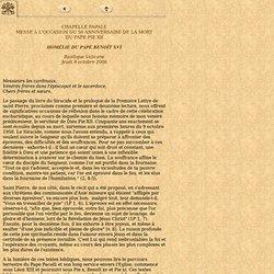 50 anniversaire de la mort de Pie xii, 9 octobre 2008 - Homélie