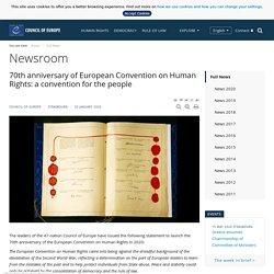 70e anniversaire de la Convention européenne des droits de l'homme : une convention pour les peuples - Salle de presse