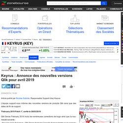Keyrus : Annonce des nouvelles versions Qlik pour avril 2019