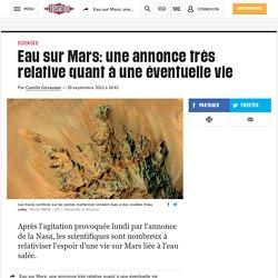 Eau sur Mars: une annonce très relative quant à une éventuelle vie