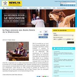Le Pape annonce une Année Sainte de la Miséricorde